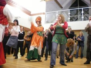 Nachda Sansaar teach some bangra moves at the Promoter Meetings