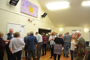 Promoters mingling together at Bramshall Village Hall